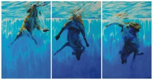 "Triptychon ""In to the deep "" aus den Blauen Zyclus,180x95cm x3,Öl/Leinwand 2009"