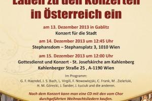 Der gemischte Chor CANTICUM IUBILAEUM laden zu den Konzerten in Österreich ein.