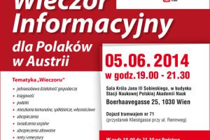 5 czerwiec. Wieczór Informacyjny dla Polaków w Austrii.