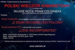 """Polski wieczór kabaretowy w ramach akcji """"Długie noce praw człowieka"""""""
