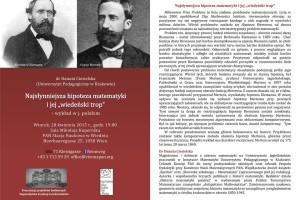 """Najsłynniejsza hipoteza matematyki i jej """"wiedeński trop"""" – wykład w języku polskim."""