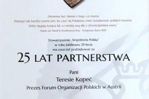 Podziękowanie za 25 lat partnerstwa i współpracy.