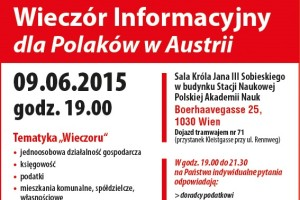 WAŻNE ! Wieczór informacyjny dla Polaków w Austrii.