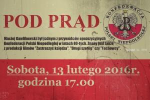 """Projekcja filmu Macieja Gawlikowskiego """"POD PRĄD""""."""