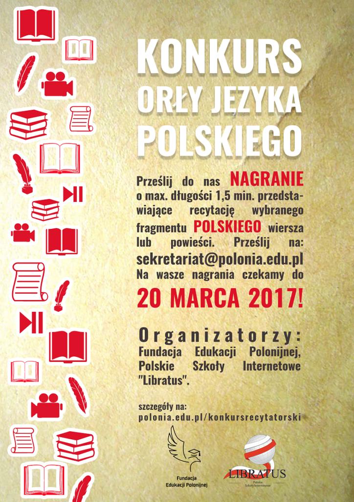 Plakat - Konkurs Orły języka polskiego